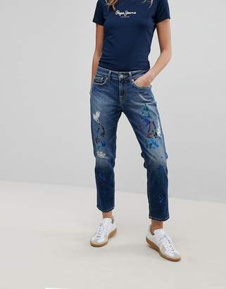 Pepe Jeans Mid Rise Straight Leg Jean with paint splatter