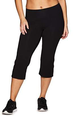 RBX Active Women's Plus Size Cotton Spandex Capri Leggings Black Basic