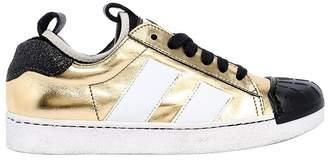 Momino Metallic Leather Sneakers W/ Rubber Toe