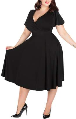 a9e1528ed62 Nemidor Women s V-Neckline Stretchy Casual Midi Plus Size Vintage Dress