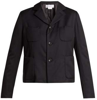 Comme des Garcons Single Breasted Patch Pocket Wool Blazer - Womens - Black