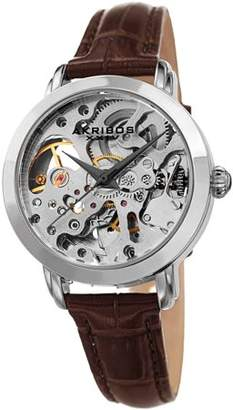 Akribos XXIV Silver Tone Casual Automatic Watch With Leather Strap [AK1037SSBK]