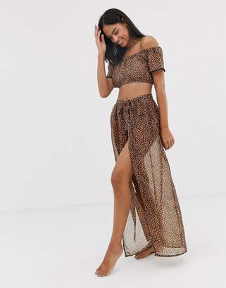 57748fd05143b South Beach Leopard Maxi Wrap Beach Skirt Co-Ord