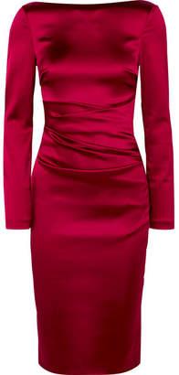 Talbot Runhof Ruched Duchesse-satin Dress - Red