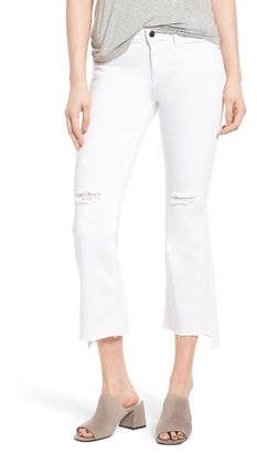Women's Sp Black Step Hem Crop Flare Jeans