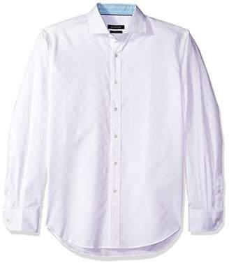 Bugatchi Men's Slim Fit Tonal Jacquard Long Sleeve Button Down Woven