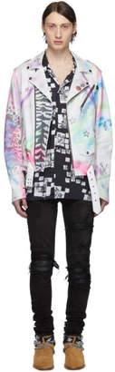 Amiri White and Multicolor Leather Graffiti Biker Jacket