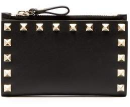 Valentino - Rockstud Leather Cardholder And Coin Purse - Womens - Black