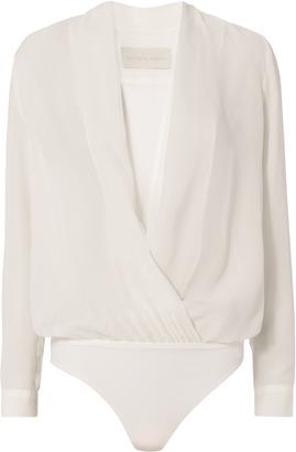Michelle Mason Cross Front Bodysuit Blouse $450 thestylecure.com