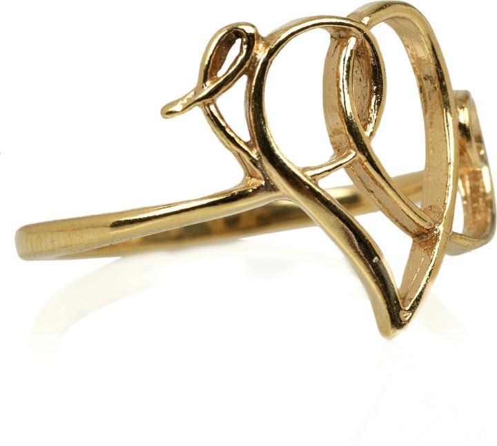 Alex Monroe 22-karat gold-plated scroll heart ring