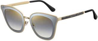 Jimmy Choo Lorys Cat-Eye Mirrored Sunglasses w/ Glittered Arms