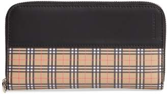 Burberry Mini Vintage Canvas Check & Leather Zip Around Wallet