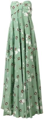 Valentino floral print strapless gown