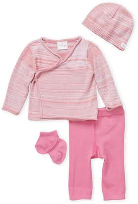 Cuddl Duds Newborn Girls) 4-Piece Pink Wrap Cardigan & Pants Set
