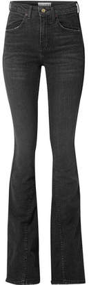 TRE - Cher Distressed High-rise Flared Jeans - Black