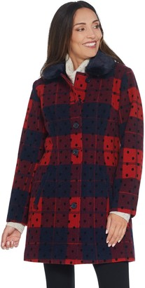 Isaac Mizrahi Live! Buffalo Plaid & Dot Coat with Faux Fur Collar