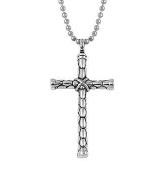 JCPenney FINE JEWELRY Mens Stainless Steel Cross Pendant Necklace