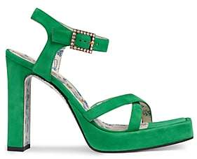 Gucci Women's Crystal-Buckle Suede Platform Sandals - Green