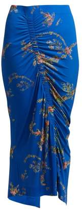 Preen by Thornton Bregazzi Tracy Floral Print Ruched Midi Skirt - Womens - Blue Multi