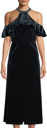 Ali & Jay Queen of the Disco Cold-Shoulder Velvet Halter Dress