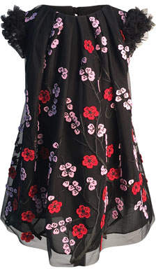 Helena Girl's Floral Embroidered Tulle Dress, Size 7-14
