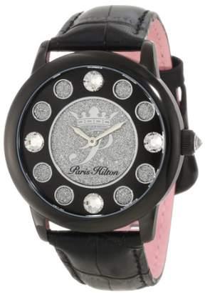 Paris Hilton Women's PH.13181JSB/02A Fame Pave Glitter Black Leather Watch