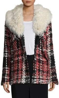 Rag & Bone Antoine Weave Lamb Shearling-Trimmed Plaid Jacket