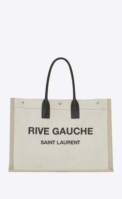 Saint Laurent Rive Gauche Tote Bag In Linen And Leather