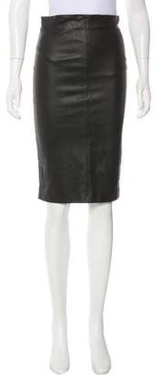 Brunello Cucinelli Leather Knee-Length Skirt