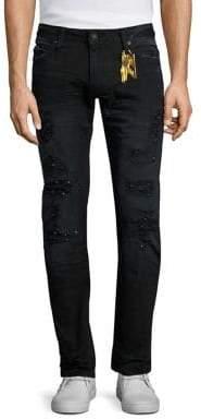 Robin's Jean Slim Fit Long Flap Distressed Jeans