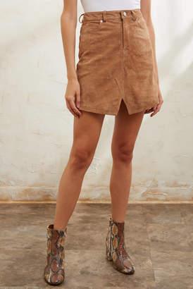Blank NYC Almond Suede 5 Pocket Mini Skirt Tan 24