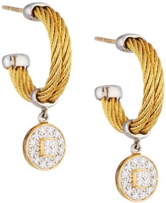 Alor Classique Steel & 18k Diamond Cable Drop Earrings