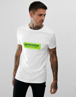 Bershka t-shirt in white with chest print