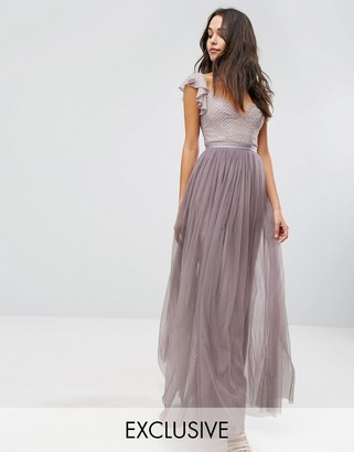 Needle & Thread Swan Tulle Maxi Dress With Frill Sleeve $264 thestylecure.com