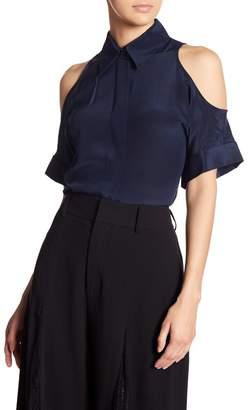 Alice + Olivia Edris Cold Shoulder Silk Button Down Shirt