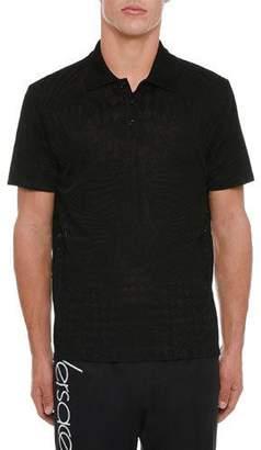 Versace Men's Tonal-Print Polo Shirt