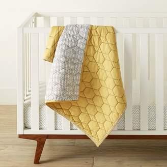 west elm Honeycomb Toddler Quilt - Horseradish