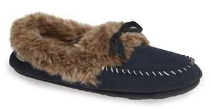 Acorn Faux Fur Trim Moccasin Indoor/Outdoor Slipper