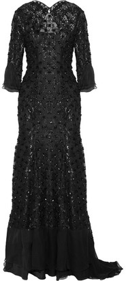 Jenny Packham - Silk Chiffon-trimmed Embellished Embroidered Lace Gown - Black $6,075 thestylecure.com