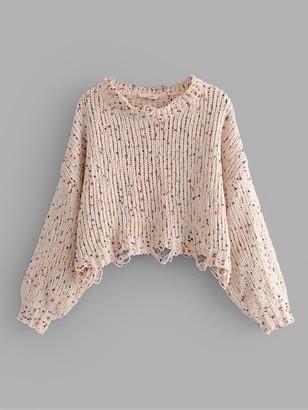 Shein Drop Shoulder Crop Frayed Sweater