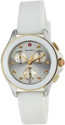 Michele 36mm Two-Tone Cape Topaz Watch with Silicone Strap, White
