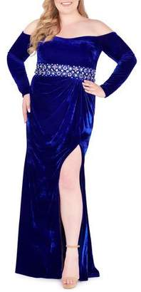 Mac Duggal Plus Size Off-the-Shoulder Long-Sleeve Velvet Gown w/ Embellished Waistband