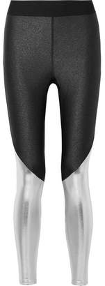 Heroine Sport - Stellar Glittered Stretch And Metallic Vinyl Leggings - Black