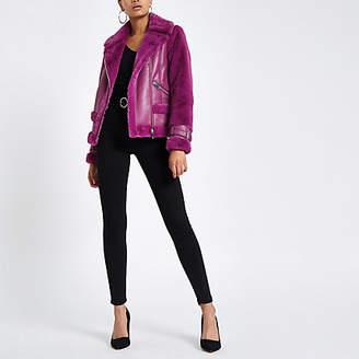 River Island Purple faux fur aviator jacket