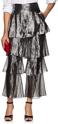 Osman Women's Felix Silk-Blend Lamé Flounce Pants