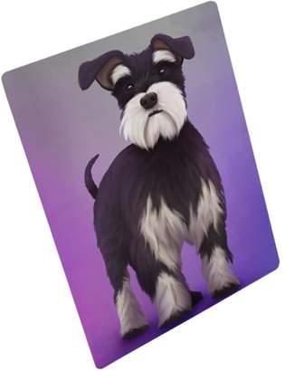 Mini A Ture Doggie of the Day Miniature Schnauzer Dog Art Portrait Print Woven Throw Sherpa Plush Fleece Blanket