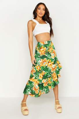 boohoo Ruffle Side Dip Hem Tropical Print Maxi Skirt