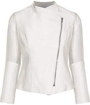 Cushnie et Ochs Organza-Paneled Leather Jacket