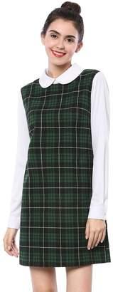 Allegra K Women's Contrast Peter Pan Collar Long Sleeve Check Shift Dress XS