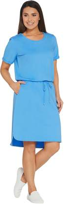 Denim & Co. French Terry Short-Sleeve Dress w/ Cutout Back Detail